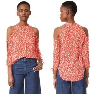 Veronica Beard Silk Flynn Bow Blouse 4 Red Floral